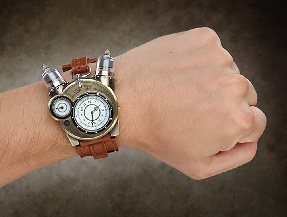 ThinkGeek Steampunk-Styled Tesla Analog Watch Weathered-Brass Look on Metal Findings Plus Leather Strap 4