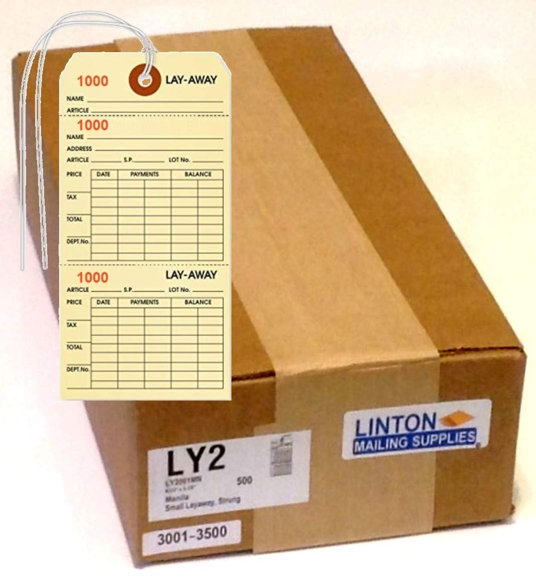 Layaway Tag, Manila Cardstock (3.125'' x 6.25'') w Two Tear-Off Sections, Black Ink w Sequential Red Numbers, Reinforced Hole w String Attached - Box of 500 Tags by LINTON MAILING SUPPLIES