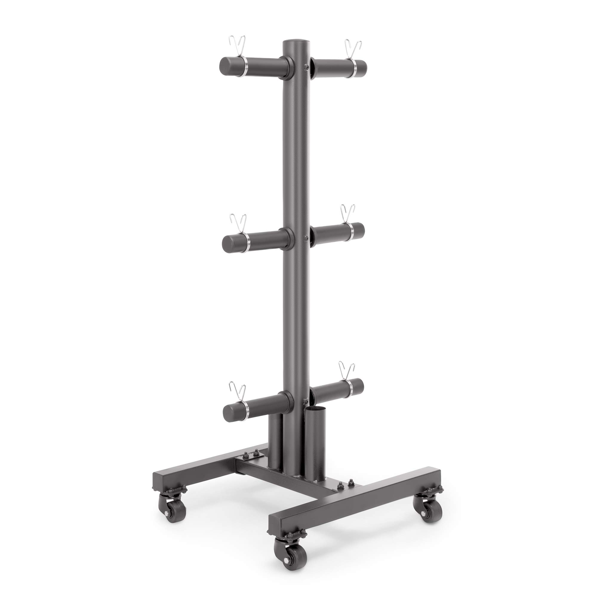 Marcy 6-Peg Olympic Plate Rack and Vertical bar Holder with Clips and Transport Wheels for 2-Inch Weight Plates PT-5856