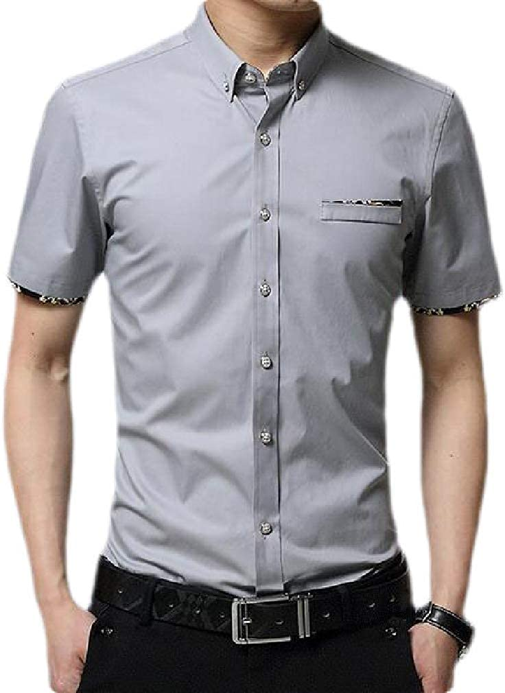 Etecredpow Mens Casual Button Front Short Sleeve Slim Fit Shirts