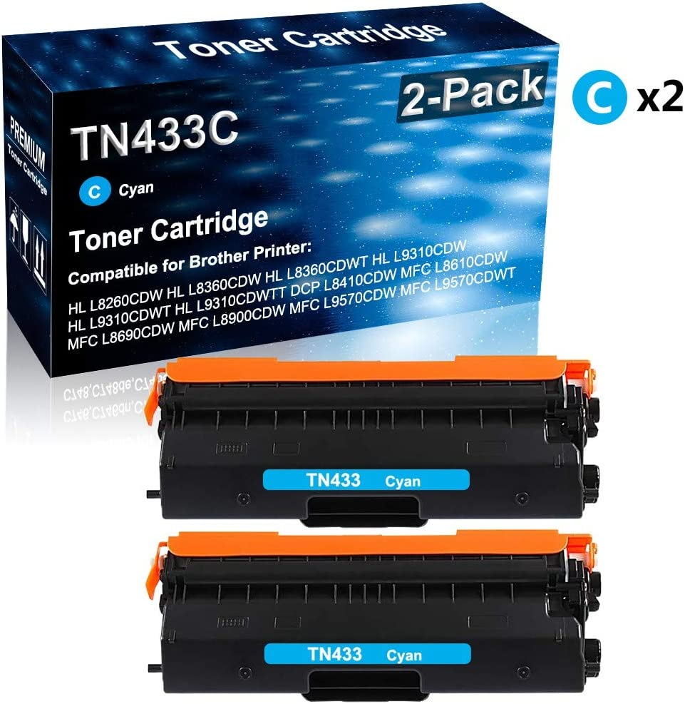 Cyan Replacement for Brother TN433 TN433C Printer Toner 2-Pack High Capacity Compatible HL-L8360CDW DCP-L8410CDW MFC-L8610CDW MFC-L9570CDWT MFC-L8900CDW Laser Printer Toner Cartridge