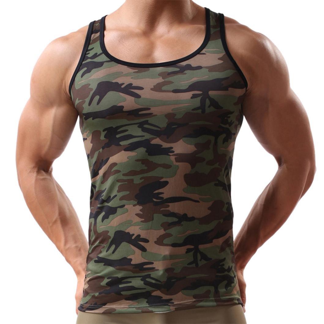 Tops Sannysis Herren Ärmelloses Männer Camouflage Weste Sportswear Tank Top Slim Fit Muscle Shirt Bluse Rundhals Unterhemden Trainingshirt Tanktop Casual Shirts for Men (2XL, Tarnung) Amonfineshop_2586