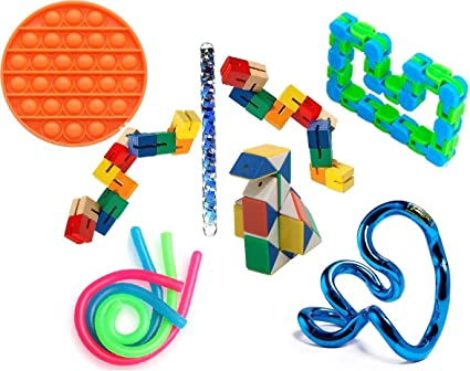 QUQU 8PC Colorful Puzzle Sensory Fidget Toys Stress Relief Rotate and Shape,Bicycle Chain Track Decompression Toy Finger Toys for Adults Kids 24Bit Green, Blue and Orange