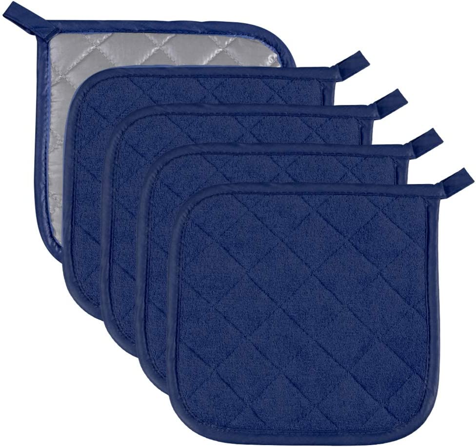 Pot Holders Cotton Made Machine Washable Heat Resistant Potholder, Pot Holder, Hot Pads, Trivet for Cooking and Baking (5, Dark Blue)