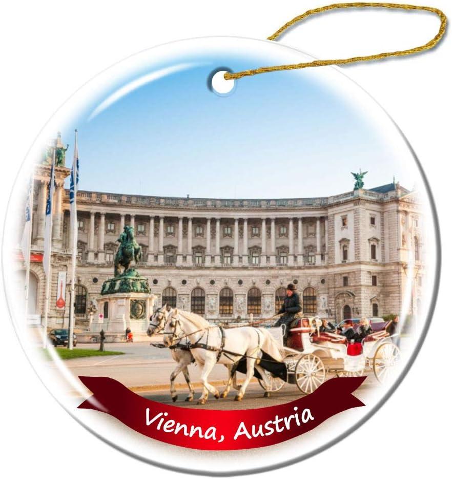 Fhdang Decor Vienna Austria Christmas Ornament Porcelain Double-Sided Ceramic Ornament,3 Inches