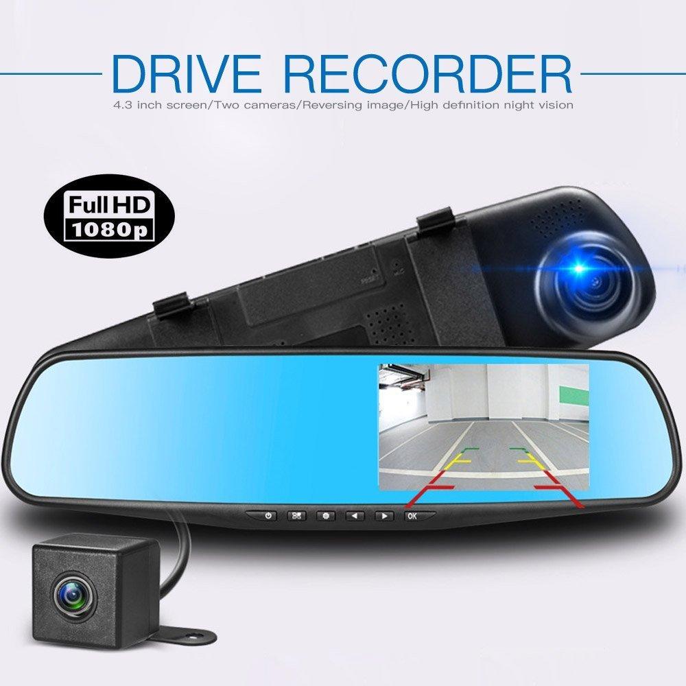 Lychee Full DH 1080p TFT Dual Lens Specchio, Reverse backup auto fotocamera con obiettivo grandangolare 170 ° , visione notturna, supporto 32 GB, rilevazione di movimento, sensore G Reverse backup auto fotocamera con obiettivo grandangolare 170 °