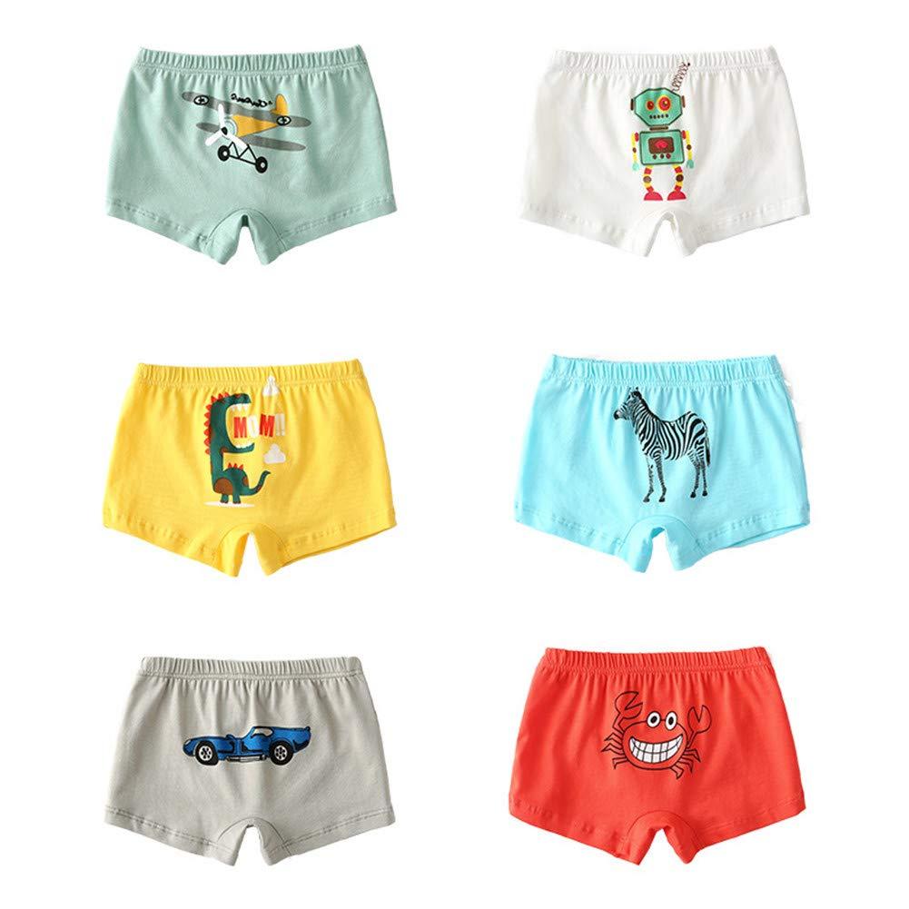 JIEYA Baby Boys Cotton Shorts 6-Pack Cartoon Printed Boxer Briefs Underwear