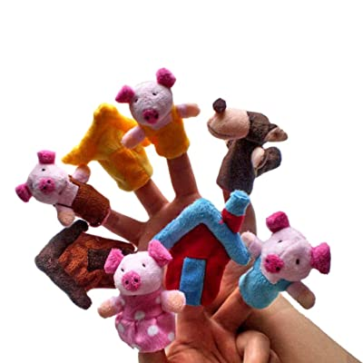 8 unds Marionetas de dedo para escenificar el cuento de Los tres cerditos y el lobo fomentar imaginacion, escenificar, vocalizar, expresión teatro regalo buenas notas, cumpleaños, fin curso.. de CHIPYHOME: Juguetes y juegos