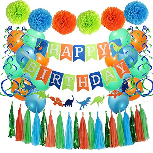 Dinosaur Party Supplies Dinosaur Happy Birthday Decorations Kit- Dino Jungle Jurassic Garland Photo Props- Dinosaur Happy Birthday Banner -Tissue Paper Pom Poms- Latex Balloons- Hanging Swirls - for Kids Birthday Decorations]()