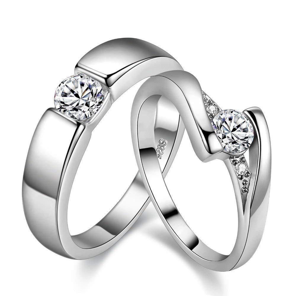 Uloveido Simple Classical 2 Pcs His And Hers Matching Set Engagement Ring With Sparky Round Cubic Zirconia Platinum Plated Wedding Band Valentine's Day: Matching Platinum Wedding Bands At Reisefeber.org