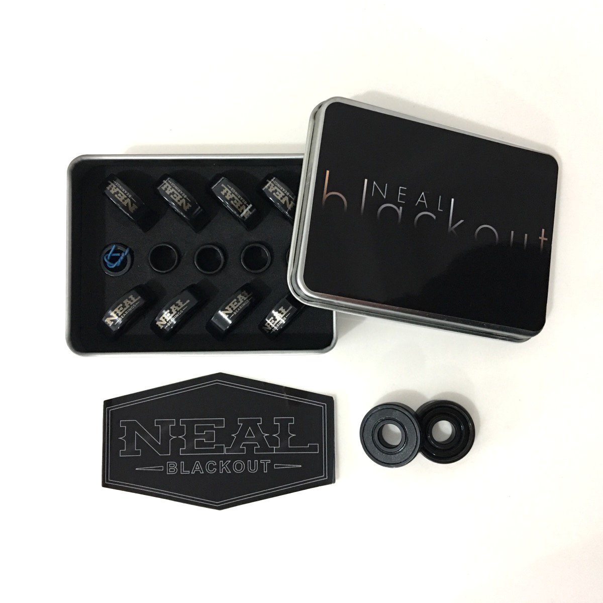 Neal Precision Ceramic Skate Bearings 608rs - Skateboard - Longboard - Inline - Scooter. The Best Bearings Guaranteed. (Black/Ceramic, 8 Pcs) by Neal Bearings