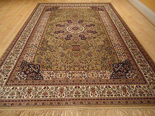 Luxury Silk Gold Rug Traditional Area Rugs Persian Kashan 5x8 Area Rugs Living Room Rug 5x7 Luxury Rugs for Office Bedroom (Medium 5'x8') (Kashan Silk Rug)