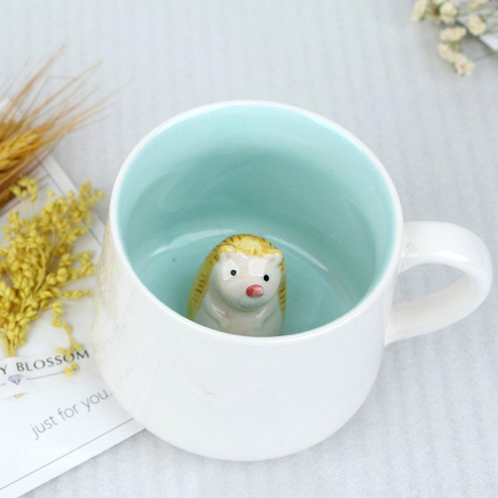 Surprise 3D Cartoon Miniature Animal Coffee Cup Mug with Baby Giraffe Inside - Best Office Cup & Christmas Gift (Hedgehog)
