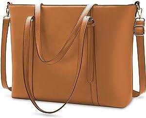 Laptop Bag for Women Lightweight Leather Work Tote Waterproof Business Office School Computer Bag for 15.6 Inch Laptop & Tablet Professional Large Capacity Briefcase Handbag Shoulder Bag Black Brown