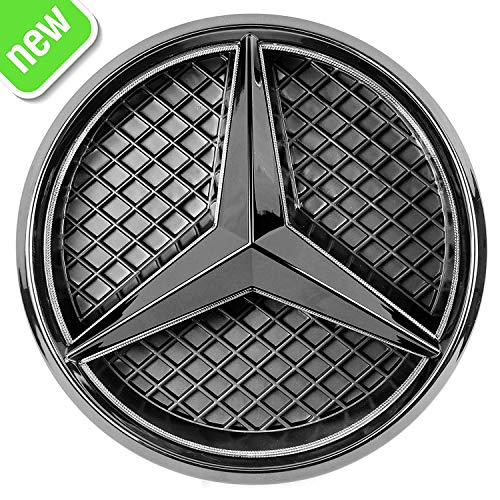 Patricon Xenon White LED Illuminated Logo Car Front Grilled Star Emblem for Mercedes Benz 2013-2018 A/B/C/CLS/E/GLK/GL/R Series Center Front Badge Lamp Light (Matte Black)