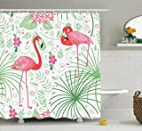 Pink Flamingo Shower Curtain Hooks Ambesonne Nautical Floral Flamingo 69-Inch-by-70-Inch Polyester Bathroom Shower Curtain with Hooks, Green / Coral Pink