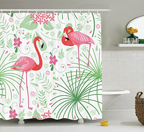 ambesonne-nautical-decor-collection-floral-pattern-flamingo-botany-greenery-floral-romantic-feminine