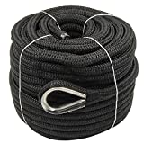 5/8″ x 150′ Double Braid Nylon Rope Anchor Line with Thimble Black