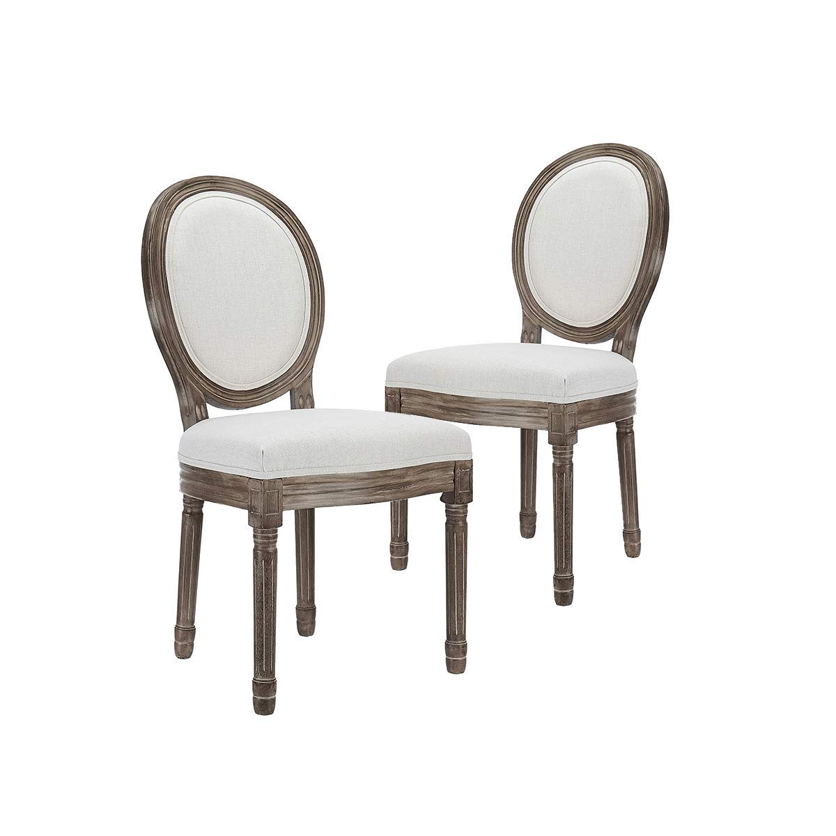 CangLong Farmhouse Dining Room Chairs, Fabric Round, Beige
