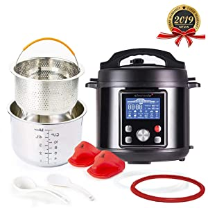 Simfonio Electric Pressure Cooker 8Qt - Simpot 10-in-1 Steamer Pot Rice Cooker Slow Cooker Egg Cooker Multi Cooker - Stainless Steel Hot Pot with Pressure Cooker Cookbook