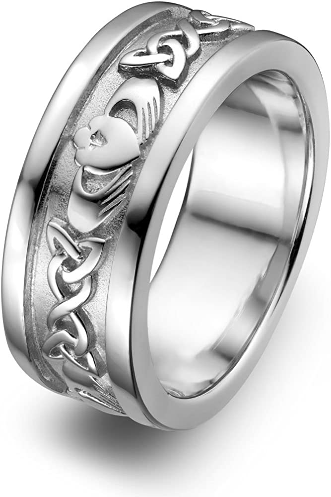 Sterling Silver Men's UMS-6345 Wedding Claddagh Ring