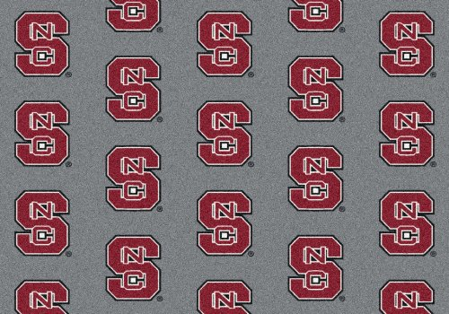4'x6' NC STATE #1210 - Milliken NCAA College Sports Team Repeat Logo 100% Nylon Pile Fiber Broadloom Custom Area Rug Carpet with Premium Bound Edges ()