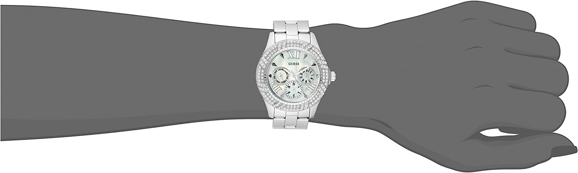 GUESS Women's U0632L1 Sporty Silver Tone Watch with MOP Dial