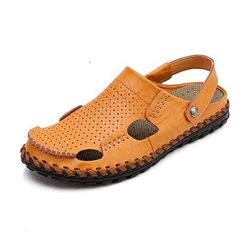 f3e1e63389f16 Leader Show Men s Summer Close Toe Flat Sandal Casual Breathable Slippers  (8.5