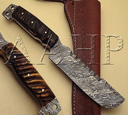 AAHP - 73, 10 Inches Handmade Damascus Skinner Knife with Approx 5.5 inch Blade Made of 100% Real Damascus Steel, Approx 4.5 inch Ram Horn with Brass Pins ()