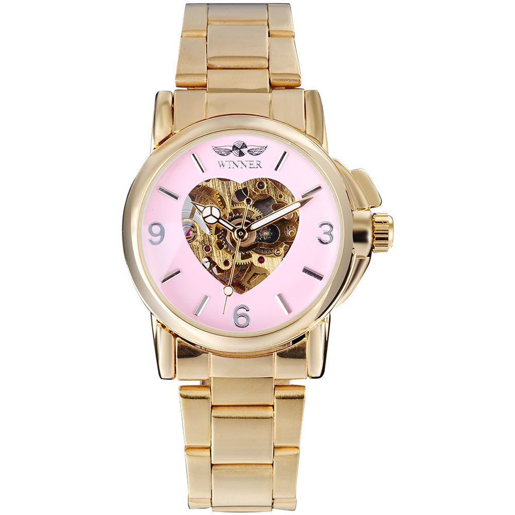 Womens Love Pattern Mechanical Watch pink Face Self Winding Bracelet Stainless steel gold Watches (pink)