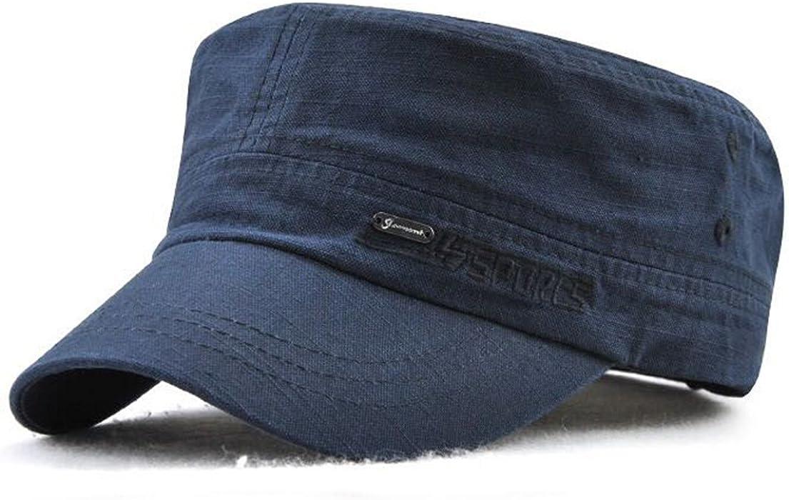 Herren Military Army Cap Vintage Schirmmütze Flat Kappe Cotton Mütze