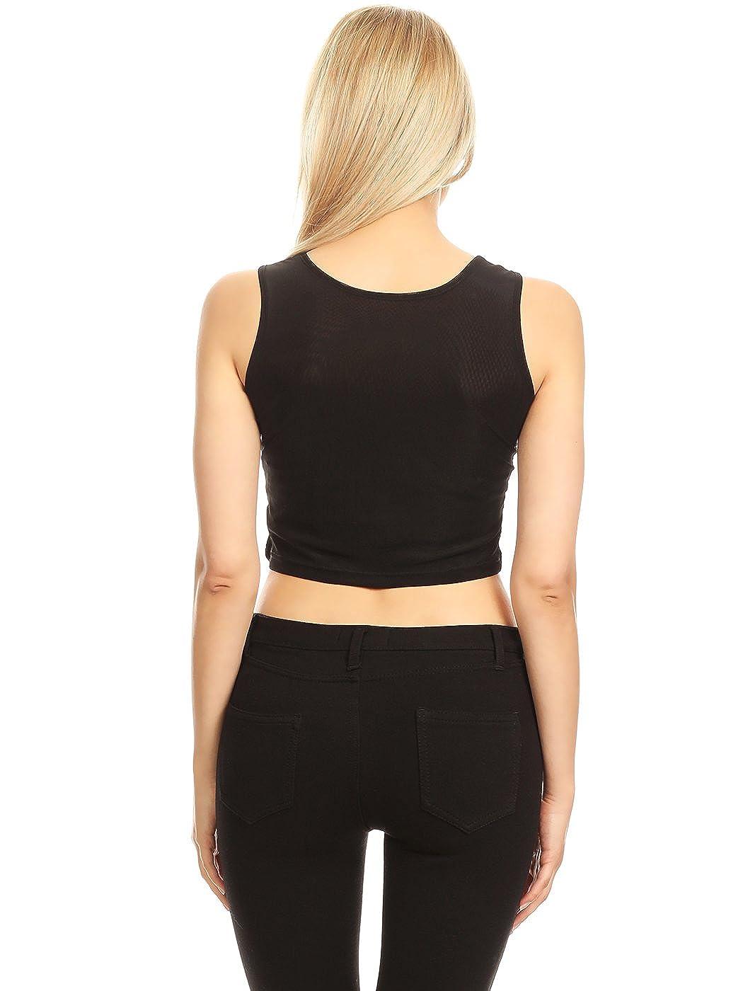 38fc6d110d49b0 Anna-Kaci Womens Sparkle Stripe Front Sequin Slim Fit Cropped Vest Tank Tops  at Amazon Women s Clothing store