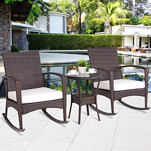 Tangkula Rocking Set 3-Piece Outdoor Patio Porch Garden Backyard Deck All Weather Proof Wicker Furniture Set with Glass Coffee Table Cushioned Rocking Chairs Conversation Set