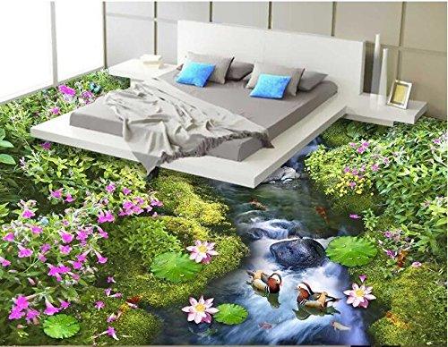 XLI-You 3D Wallpaper 3D Flooring Custom Wall Paper Flowers and Flowers Ground 3D Bathroom Flooring Picture of The World Mural Wallpaper Sticker Mural 350cmX270cm