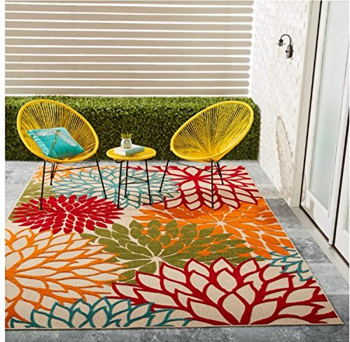 Vibrant Floral Pattern Area Rug, Featuring Tropical Garden Inspired Design, Colorful Stylish Chic Home Decor, Rectangle Indoor Outdoor Living Room Bedroom Dining Patio Carpet, Green, Size 5' 3 x 7' 5 (Rooms Tropical Inspired Living)