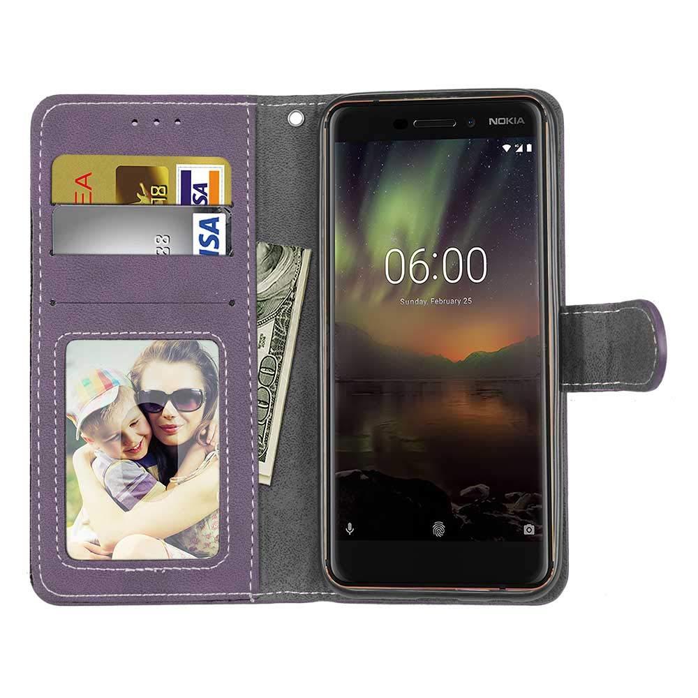 Noir-01 Carols Samsung Galaxy A6 2018 Coque PU Cuir Flip Housse /Étui Cover Wallet Case avec Supporter Fermeture Aimant/ée pour Samsung Galaxy A6 2018