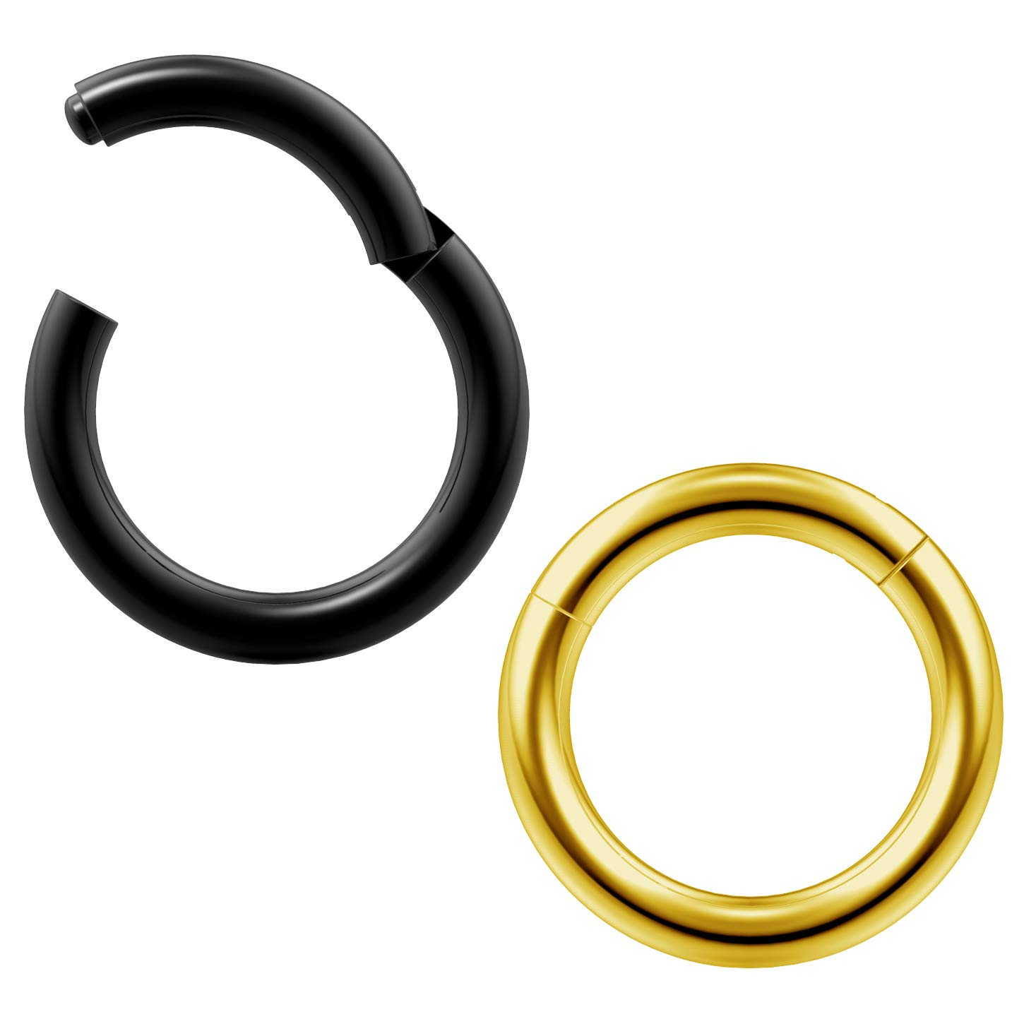 2pc 14g Clicker Nose Rings Hoop Septum Ring Ceptum Clickers Conch Piercing Jewelry 5//16 8mm
