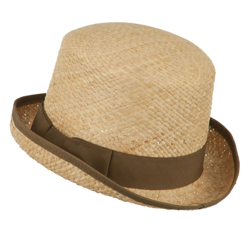 Victorian Men's Hats- Top Hats, Bowler, Gambler Raffia Straw Top Hat Fedora - Brown $34.49 AT vintagedancer.com