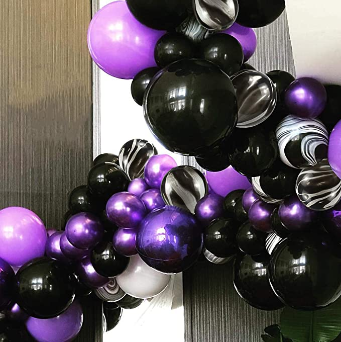 25cm Party // Birthday Balloons Baby Pink /& Lilac Black Multipack