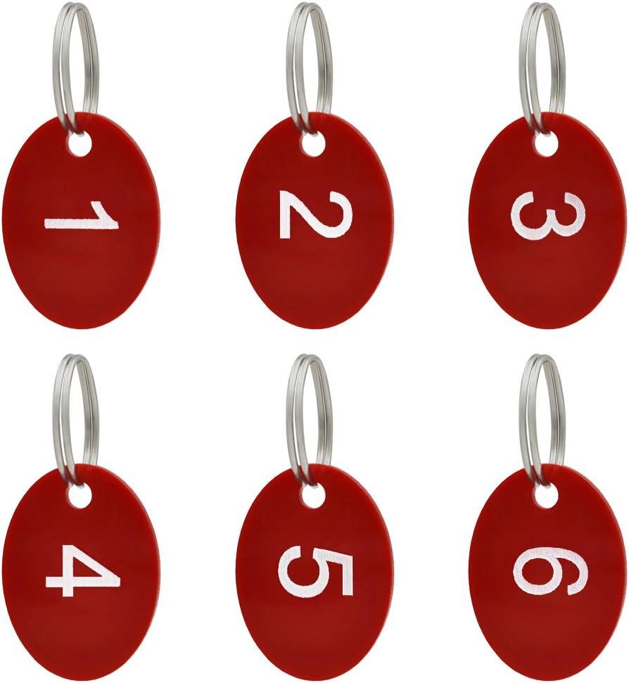 aspire 50Pcs Schl/üsselanh/änger Schl/üssel Tags mit Ring aus Acrylic zum Organisieren und Sortieren Schwarz Oval 1 bis 50