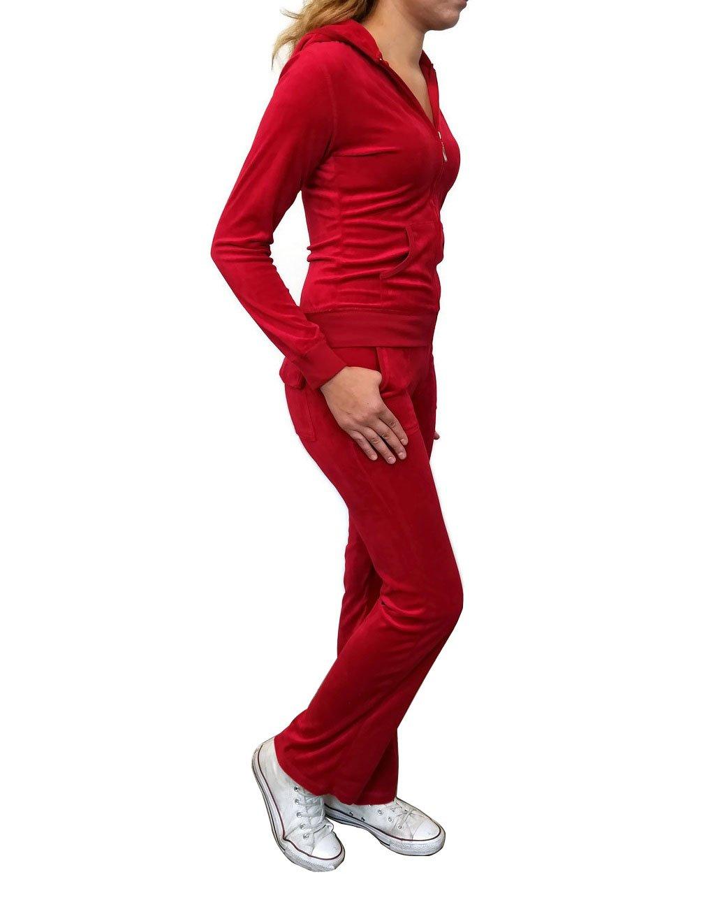 Women's Zip up Plush Soft Velour Jogging Track Suit (VS795110 Red, X-Large)
