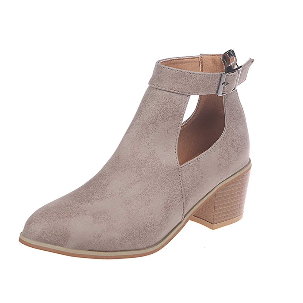 HTTEM Womens Round Toe Cutout Block Chunky Heel Strap Buckle Ankle Booties