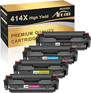 Arcon Compatible High Yield Toner Cartridge Replacement for HP 414X W2020X 414A for HP Color Laserjet Pro MFP M479fdw M454dw M479fdn M454dn M479dw M479 M454 Toner Printer (KCMY, 4-Pack)