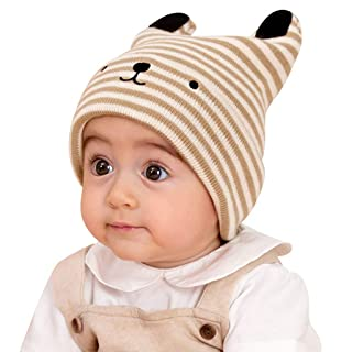 ShenZuYang Cappello in Maglia Cappello Autunno e Inverno Cappello per Bambini all'aperto Serie 100% Nylon di Alta qualità Materiale Forma Super Carina (Color : Black Strips, Size : 36cm-50cm)