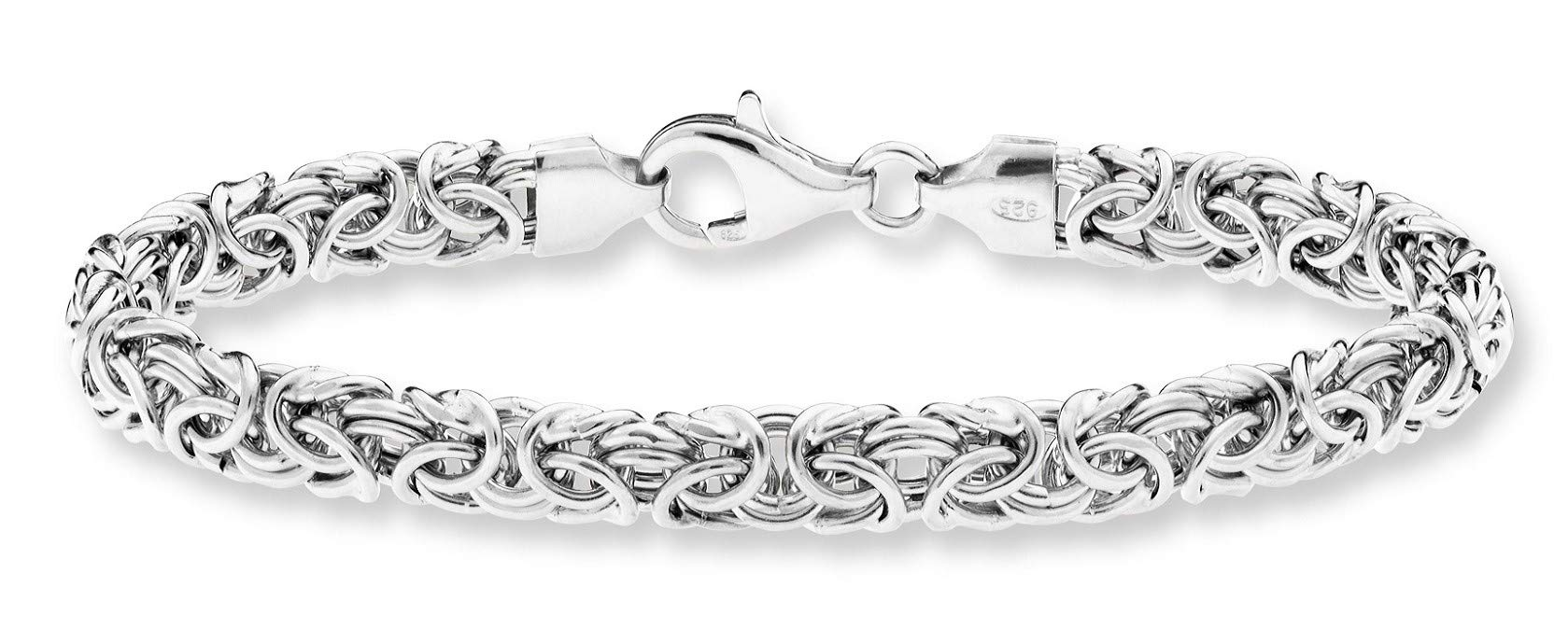 MiaBella 925 Sterling Silver Italian 6mm Byzantine Link Chain Bracelet for Women, 7.25'', 8'' (7.25, Sterling-Silver)