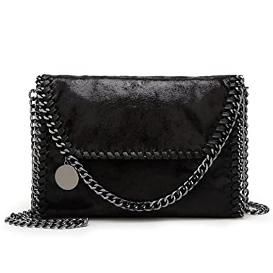 KAMIERFA Cross Body Bags Envelope Handbags for Women Designer PU Leather  with Chain Strap (Black)  Amazon.co.uk  Shoes   Bags 542737537dfa1