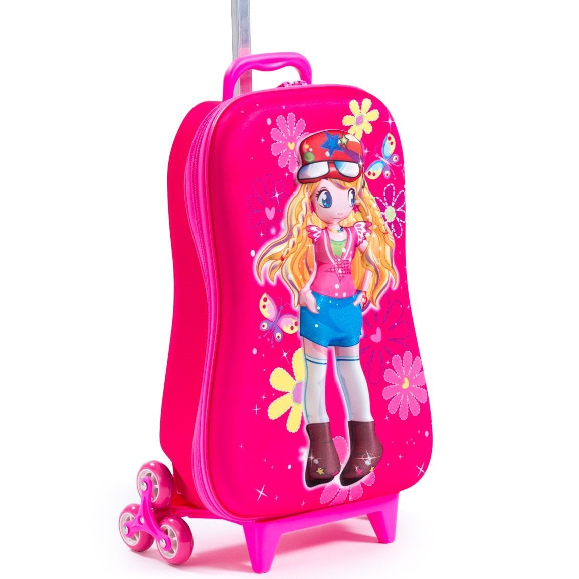 Girls Pink 3D Cute Face Princess Theme Wheeled Upright Rolling Suitcase, All OverFlowers, Fashionable, Travel Wheeled Suit Bag Wheels, Butterflies Carry, Wheeling Luggage by DSOS