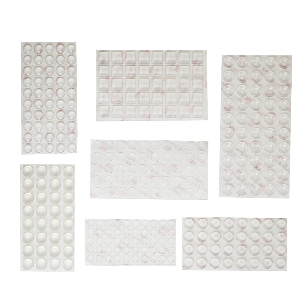 Shintop 304 Pieces Furniture Bumpers, Clear Adhesive Buffer Pads Noise Dampening for Doors Cabinets Drawers (7 Different Sizes)