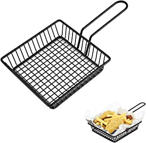 Mini Chips Fry Basket French Fries Holder Mesh Wire Square Fries Basket Strainer for Fried Food, Frying Serving Basket for Chips, Shrimps, Onion Rings, Kitchen Restaurant Table Serving Food Presentati