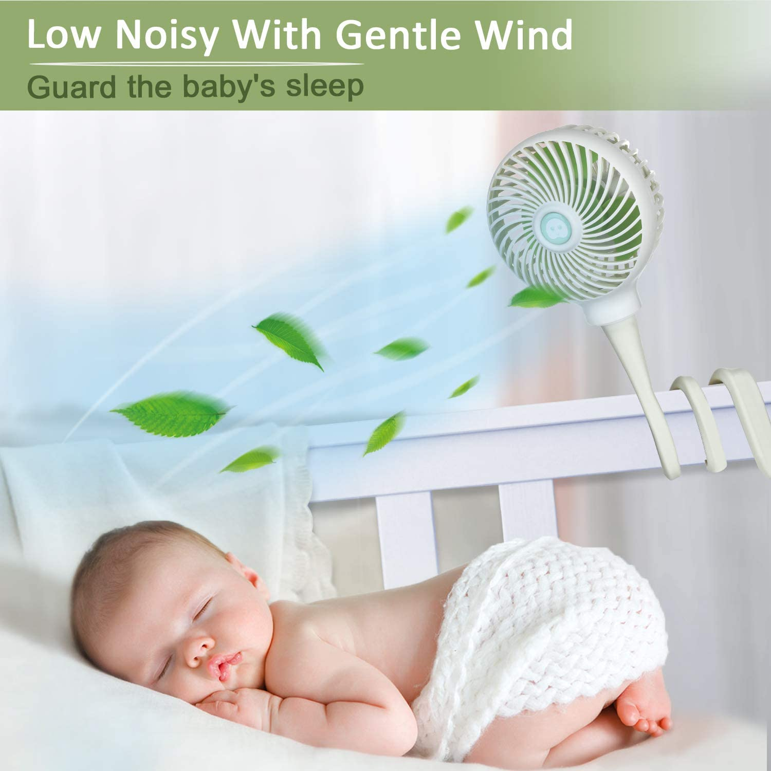 Car Seat Fan 3000 mAh Rechargeable Battery Operated USB Personal Desk Fan White Anpro Stroller Fan for Baby Portable Baby Fan Clip on Stroller//Crib with Flexible Stand
